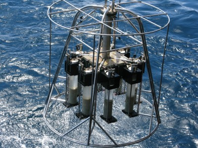 Recorvery of the 'Megacore' - a device used for sampling a pristine interface of the ocean and seafloor. These samples collected from 2600m in the South Atlantic Ocean aboard the Royal Research Ship Discovery (D357)