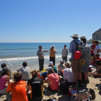 Lecture on beach