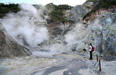 Dr V Smith, a co-author, investigates volcanic gas emissions from the Pisciarelli fumarole