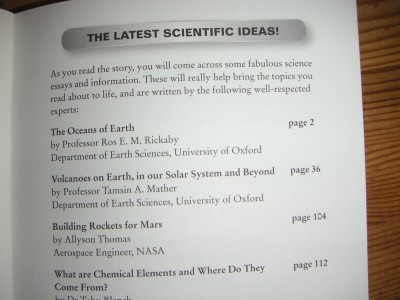 Ros and Tamsin's scientific essays, as listed in the book
