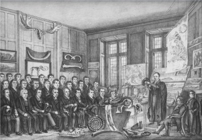 Lithograph of the Special lecture given by William Buckland in the Old Ashmolean Museum, 15th February, 1823