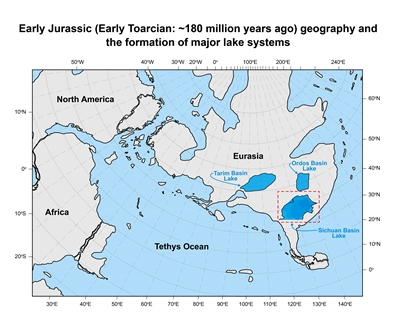 Geographical map of the Early Jurassic