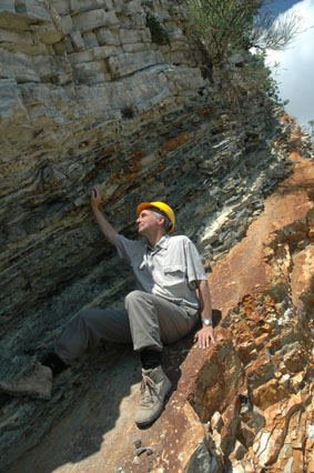 Hugh investigating black shale deposited during the Bonarelli OAE