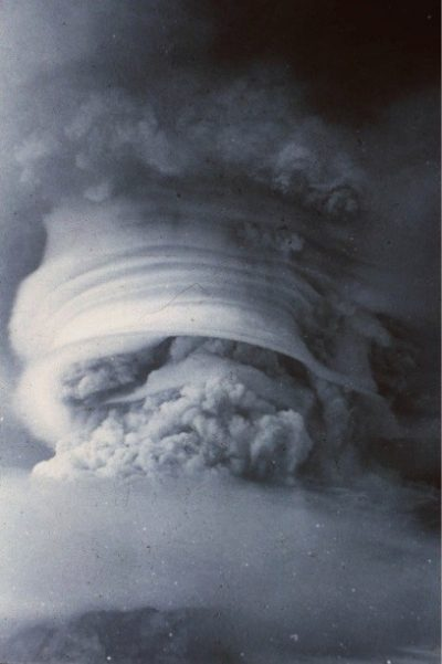 Fig. 2. The eruption of Soufrière St Vincent, 1979, showing the volcanic plume interacting with atmospheric moisture (courtesy Steve Sparks)