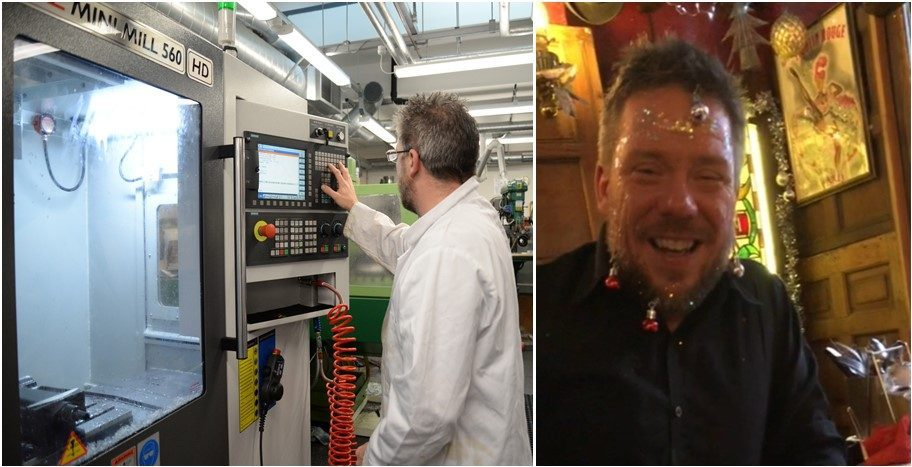 Jamie spreading joy both in the workshop, seen here on the mini mill and a christmas party